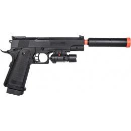 UK Arms P2001C Spring Airsoft Pistol w/ Mock Suppressor & Laser - BLACK