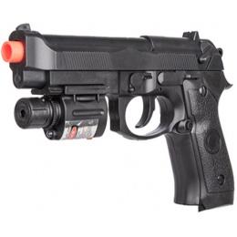 UK Arms P2218B Airsoft Spring Powered Pistol w/ Laser - BLACK