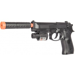 UK Arms P2218C Airsoft Spring Powered Pistol w/ Laser - BLACK