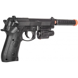 UK Arms P2218C Airsoft Spring Powered Pistol w/ Laser - BLACK