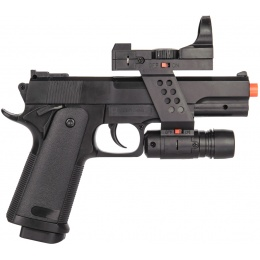 UK Arms G153BAF Airsoft Spring Laser Pistol w/ Flashlight - BLACK