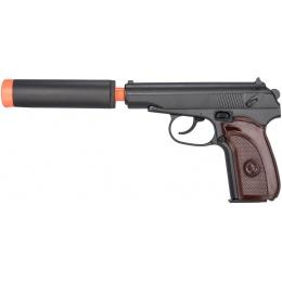 Galaxy G13H Airsoft Metal Spring Pistol w/ Mock Suppressor - WOOD