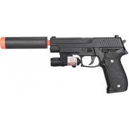 Galaxy P226 Airsoft Metal Spring Pistol w/ Mock Suppressor - BLACK