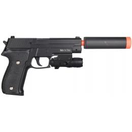 Galaxy P226 Airsoft Metal Spring Pistol w/ Mock Suppressor - BLACK
