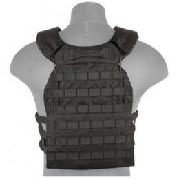 Lancer Tactical 600D Nylon Tactical Vest w/ Shoulder Straps (Black)