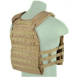 Lancer Tactical 600D Nylon Plate Carrier w/ Shoulder Straps - CB