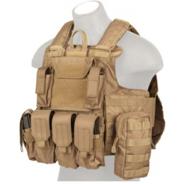 Lancer Tactical 600D Nylon Strike Plate Carrier - COYOTE BROWN