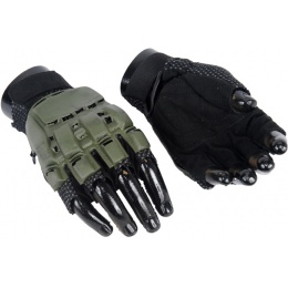 Airsoft Padded Half Finger Gloves [Small] - OD