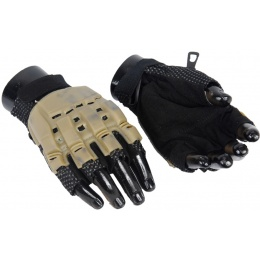 Airsoft Padded Half Finger Gloves [X-Small] - TAN