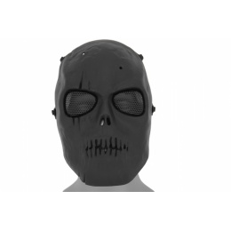 Airsoft Scarred Skull Mesh Face Mask - BLACK