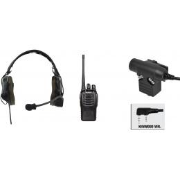 zComtac I Headset & ZU94 PTT w/ Baofeng 888S Radio Set - BLACK