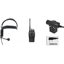 zBowman Evo III Headset & ZU94 PTT w/ Baofeng 888S Radio Set - BLACK