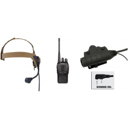 zSelex TASC1 Headset & U94 PTT w/ Baofeng 888S Radio - DARK EARTH
