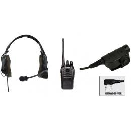 zComtac I Headset & ZSILYNX PTT w/ Baofeng 888S Radio - BLACK