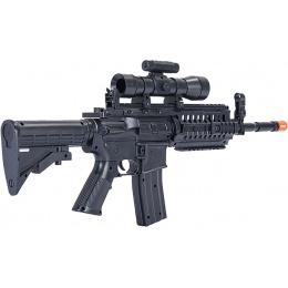 UK Arms Airsoft Mini M4 SIR Spring Powered Rifle w/ Scope - BLACK