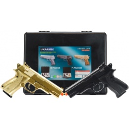 UK Arms Airsoft 2 Spring Pistol Combo Pack - BLACK/GOLD