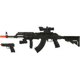 UK Arms Airsoft Tactical AK47 w/ Scope and Pistol Combo Pack - BLACK