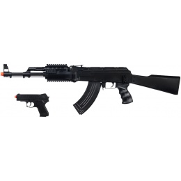 UK Arms Airsoft Tactical AK47 w/ Pistol Combo - BLACK