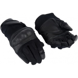 AMA Airsoft Tactical Nylon Fiber Hard Knuckle Gloves - BLACK