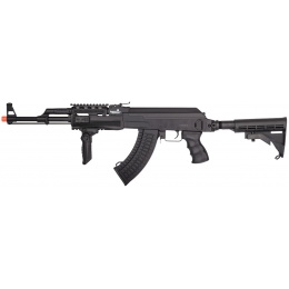 Lancer Tactical AK47 LT-728C AEG Airsoft Rifle w/ Retractable Stock - BLACK