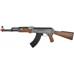 Lancer Tactical AK47 LT-728 AEG Airsoft Rifle w/ Full Stock - FAUX WOOD