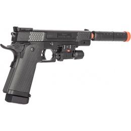 P2002C Spring Airsoft Pistol w/ Laser, Mock Extension - BLACK