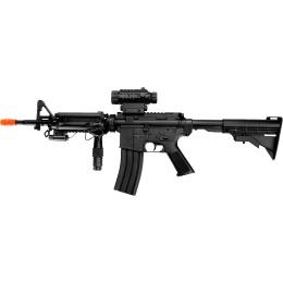 Well Airsoft M4 RIS AEG Rifle w/ Light & Laser - BLACK