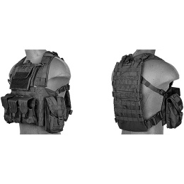 Lancer Tactical Airsoft M4/M16 MOLLE Modular Chest Rig (Nylon) - BLACK