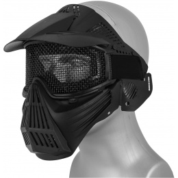AMA 2608 Plastic Full Face Mask w/ Metal Mesh Lens, Visor - BLACK