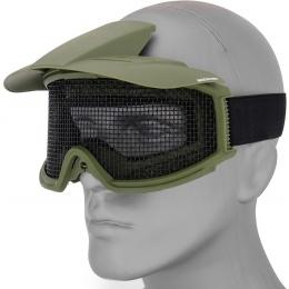 AMA 2610G Plastic Face Mask w/ Metal Mesh Lens, Visor - OD GREEN