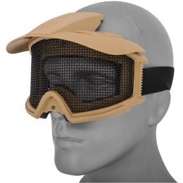 AMA 2610T Plastic Face Mask w/ Metal Mesh Lens, Visor - TAN