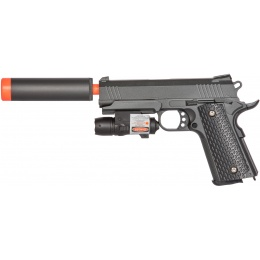 Galaxy Airsoft Metal Spring Pistol w/ Laser & Suppress - GREY