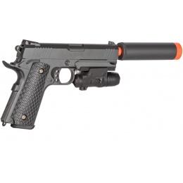 Galaxy Airsoft Metal Spring Pistol w/ Laser & Suppress - GREY
