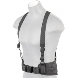 Lancer Tactical Nylon MOLLE Harness Battle Belt w/ Suspenders - BLACK