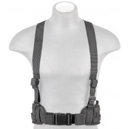Lancer Tactical Nylon MOLLE Harness Battle Belt w/ Suspenders - BLACK