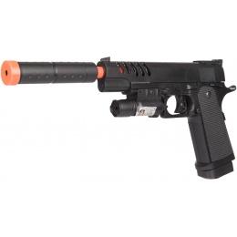 UK Arms Airsoft Spring M1911 Pistol w/ Mock Extension & Laser - BLACK