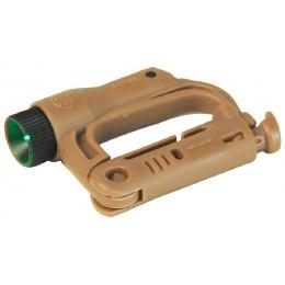 FMA Tactical Airsoft Green LED Mini D-Buckle - DARK EARTH