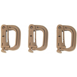 FMA Nylon Plastic Airsoft D-Buckle Mini - 3 Pack Set - DARK EARTH