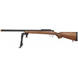 AGM Airsoft High Powered Bolt Action Sniper Rifle w/ Bipod - WOOD