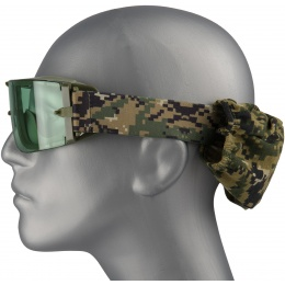 Lancer Tactical Airsoft Frameless Safety Goggles w/ Green Lens - FOREST DIGITAL