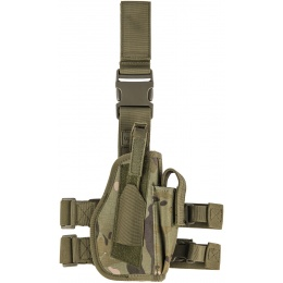 Lancer Tactical Airsoft Drop Leg Holster w/ Integrated Magazine Pouch - CAMO TROPIC