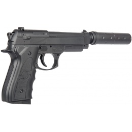 UK Arms G52A M9 Airsoft Spring Pistol w/ Mock Suppressor - BLACK