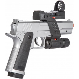 UK Arms M1911 Airsoft Spring Pistol w/ Flashlight, Sight, and Laser