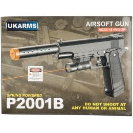 UK Arms P2001B Spring Airsoft Pistol w/ Laser - BLACK