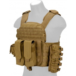 Lancer Tactical QR Tactical Airsoft Plate Carrier Vest - TAN