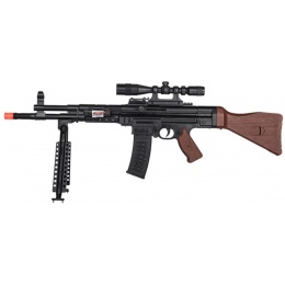 AMA MP44 Spring Airsoft Rifle w/ Bipod, Scope, Laser - BLACK