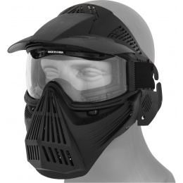 AMA Tactical Full Face Airsoft Mask w/ Eye Safety & Visor - BLACK