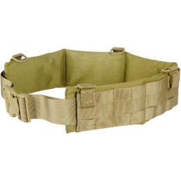 UK Arms Rugged MOLLE MED Heavy Duty Battle Belt w/ Padded Liner - KHAKI