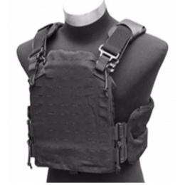 AMA Laser Cut Airsoft Tactical Vest w/ MOLLE Webbing (Black)