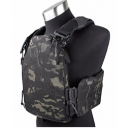 AMA Laser Cut Airsoft Plate Carrier w/ MOLLE Webbing - CAMO BLACK